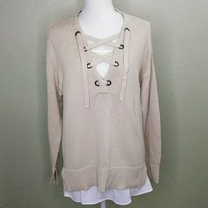 Vera Wang Lace-Up Pullover 2-fer Sweater XL NWT